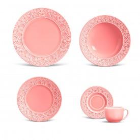 aparelho de jantar cestino rosa 30pcs porto brasil casa cafe e mel