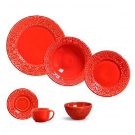 aparelho de jantar madeleine vermelho 36pcs porto brasil casa cafe e mel