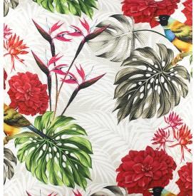 jogo americano de tecido trancoso cortbras flores vermelhas 2409 casa cafe e mel