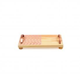 bandeja em madeira e alca de ferro pequena zig zag rosa 18844r decor glass casa cafe e mel