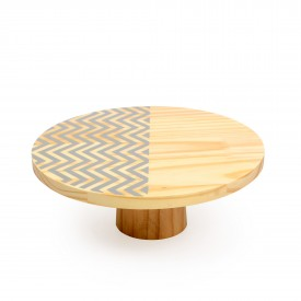 prato para bolo em madeira medio zig zag cinza 18842c decor glass casa cafe e mel