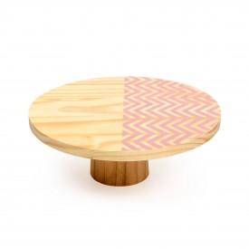 prato para bolo em madeira medio zig zag rosa 18842r decor glass casa cafe e mel