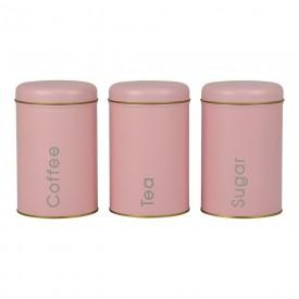 porta mantimentos 3 pecas metal rosa yh 79 entre mares casa cafe e mel