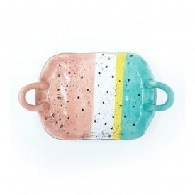 bandeja porcelana colorido com alca dec02318 casa cafe e mel 1