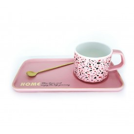caneca porcelana fosca com bandeja e colher rosa dec02305 casa cafe e mel 2