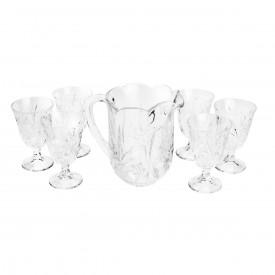 conjunto jarra tacas de cristal chumbo prima transparente 6830 lyor casa cafe e mel 1