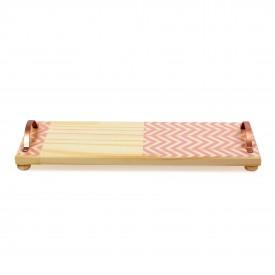 bandeja em madeira e alca de ferro grande zig zag rosa 18846r decor glass casa cafe e mel