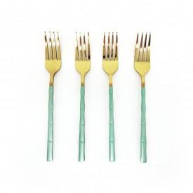 jogo de garfo para sobremesa dourada com cabo verde 4 pecas dec02577 we make casa cafe e mel 1