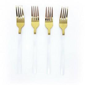 jogo de garfos douradas com cabo branco 4 pecas dec02387 we make casa cafe e mel 1