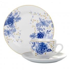 jogo para lanche porcelana fiore blue 18 pecas 24487 full fit casa cafe e mel