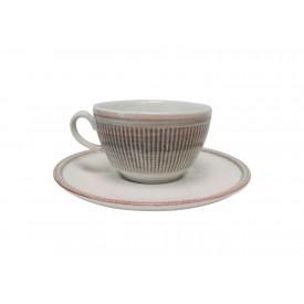 xicara de cha com pires ceramica toscana 810300325 cinza corona casa cafe e mel