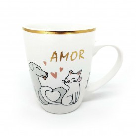 caneca de ceramica bichinhos 340ml pets wx7601 p casa cafe e mel 1