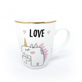caneca de ceramica bichinhos 340ml unicornio wx7601 u casa cafe e mel 1
