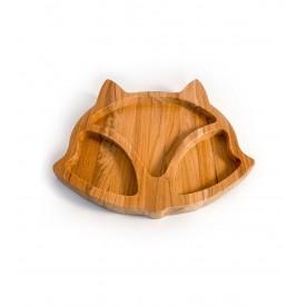 prato infantil de madeira teca raposa 6634 wood love casa cafe e mel