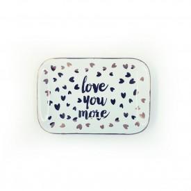 mini prato decorativo retangular de porcelana love you more 73412 love casa cafe e mel